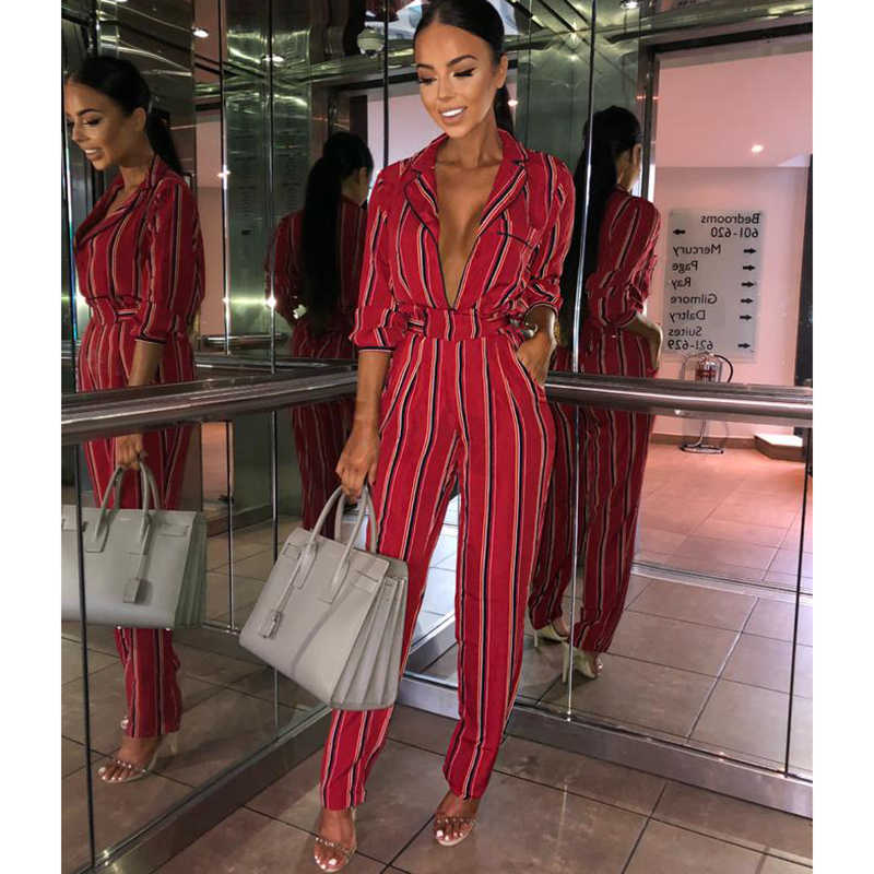 31330a9000f Fashion striped printed jumpsuits for women 2018 Half sleeve turn down  collar long rompers womens jumpsuit