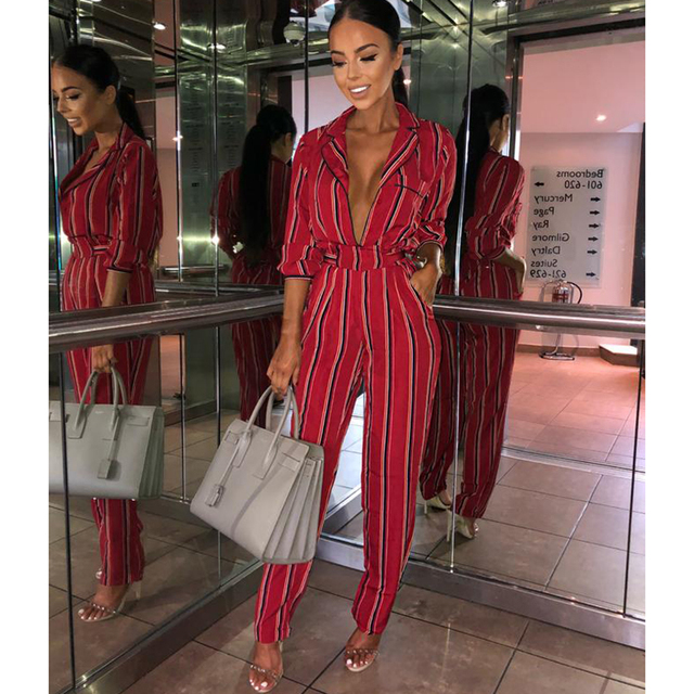 872b5a33161 Fashion striped printed jumpsuits for women 2018 Half sleeve turn down  collar long rompers womens jumpsuit Autumn new overalls