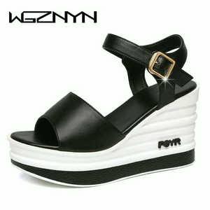Image 2 - Yüksek kaliteli yaz ayakkabı kadın sandalet deri yüksek topuk kama kadın sandalet sünger kek açık ayak kalın kadın ayakkabı w206
