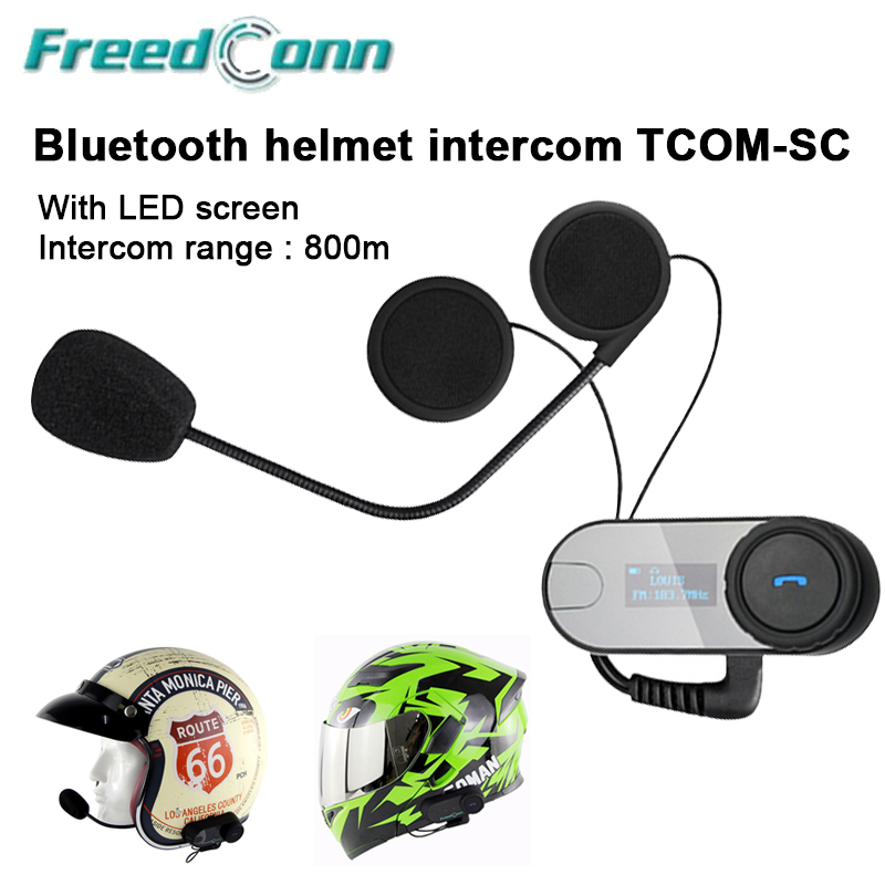1000 m Motorrad Helm <font><b>Bluetooth</b></font> <font><b>Intercom</b></font> FM Radio Motor Talkie Headset LCD Bildschirm TOM-SC image