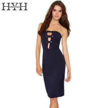 1ce47eabfa59c9d HYH haoyihui одноцветное голубой цвет миди платье Сексуальная бандо Вырез  спинки платья без рукавов на молнии