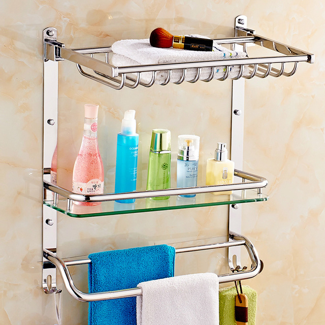 Modern Polished Chrome Bathroom Shelf Towel Bar Senior Stainless