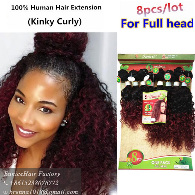 Brazilian Kinky Curly Human Weave Hair Bundles 8pcs 8 14inches