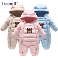 Ircomll 2017 Winter New Baby Bodysuits One Pieces Boys Grils Clothes Long Sleeve Hooded Infant Clothing
