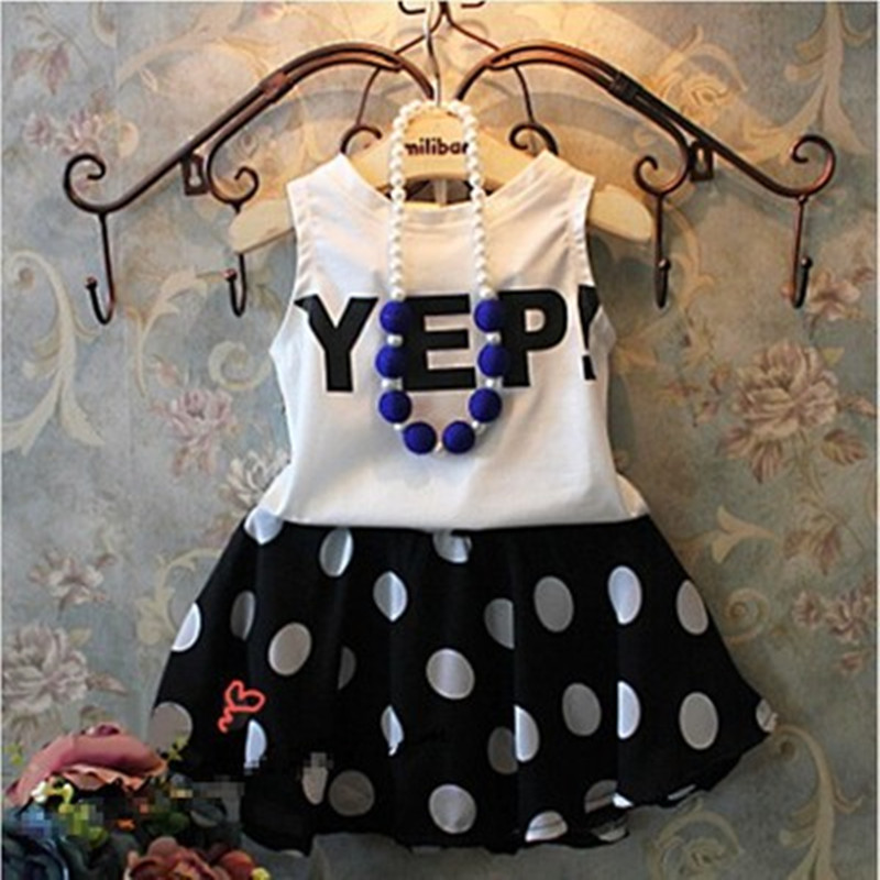 2 To 11 Years Children's Sets Summer 2017 Girls Skirt Set T-shirt Vest + Sleeveless Letters Dot Skirts Girl Suits Clothes Set