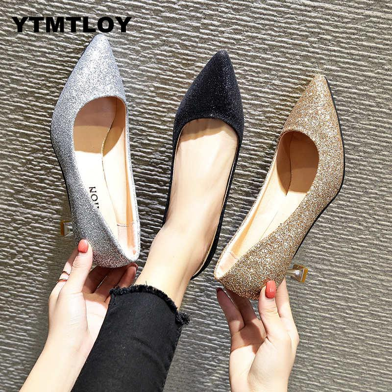 2019 Fashion New Women Pumps Classic Sequined Shallow High Heels Sexy Pointed Wedding Shoes Party Shoes  Zapatos Mujer #65