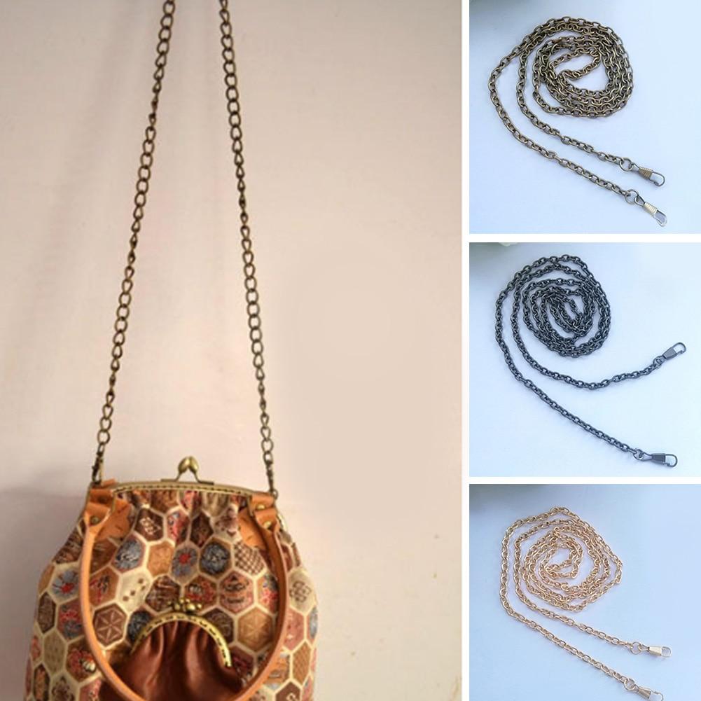 Long 40/60cm/120cm Metal Purse Chain Bag Strap Obag Handles Replacement Handbag Shoulder Bag Strap Gold Silver Bag Accessories