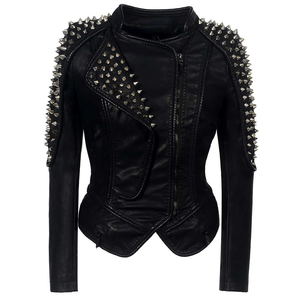 パンクリベットフェイクレザー PU ジャケット女性ファッション冬 AutumnMotorcycle ジャケット黒のフェイクレザーコート上着パンク