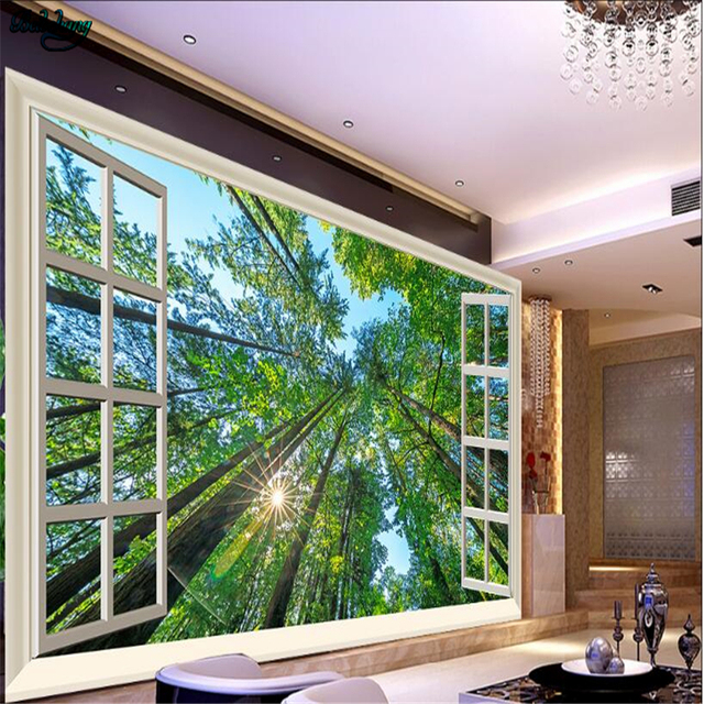 Beibehang Large Custom Window Outside The Sun Woods Three Dimensional Nature Tv Living Room Background