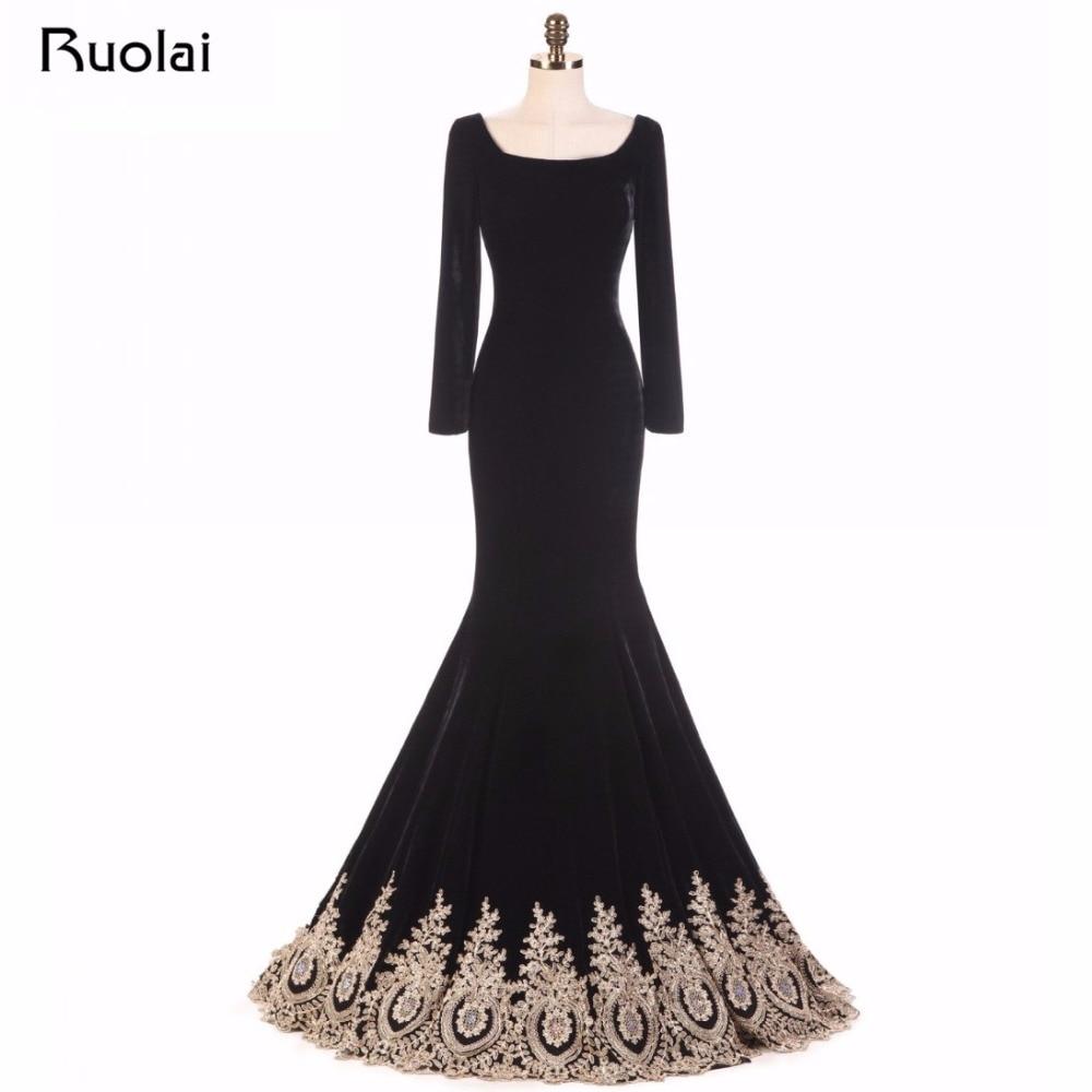 Virkelig bilde Muslim Dubai Gull Appliques Perler Velet Svart Kjole - Spesielle anledninger kjoler - Bilde 1