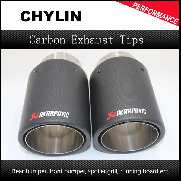 Universal coated carbon fiber +stainless steel 304 car exhaust tip end pipe tailtip muffler 63mm/89mm Akrapovic car exhaust stylish stainless steel car exhaust pipe muffler tip for benz 320 350 500