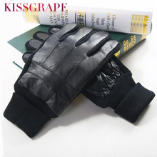Winter Genuine leather Gloves Men's Warm gloves Male Knitted Thicken Gloves Male Theraml Sheepskin Leather Gloves Mittens Cheap(China)
