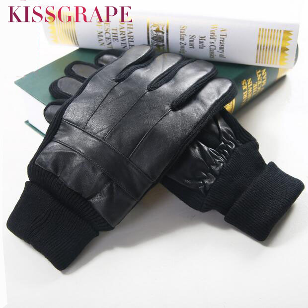 Winter Genuine leather Gloves for Men Warm gloves Knitted