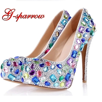 2018 Custom Made Stone Wedding Shoes Mixed Color Blue Purple Pink Anniversary Ceremony Pumps Rhinestone Bride Dress Shoes