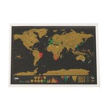 Карта мира с царапинами полуручная висячая позолоченная листовая Модная креативная сложная географическая деталь черный фон