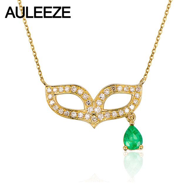 Unique mask design real diamond pendant pear shape natural emerald unique mask design real diamond pendant pear shape natural emerald pendant necklace for women 14k yellow aloadofball Choice Image
