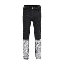 2018 New Hot Vintage Fashion men's splash-ink version skinny slim fit holes style Denim Classic wash to zipper Black jeans