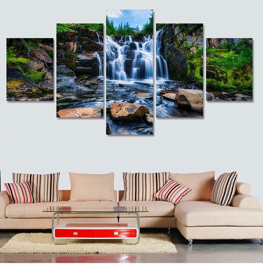 5 kusů krásné vodopád scenérie malba moderní pro obývací pokoj město domů dekor plátno na zdi modulární obrázek