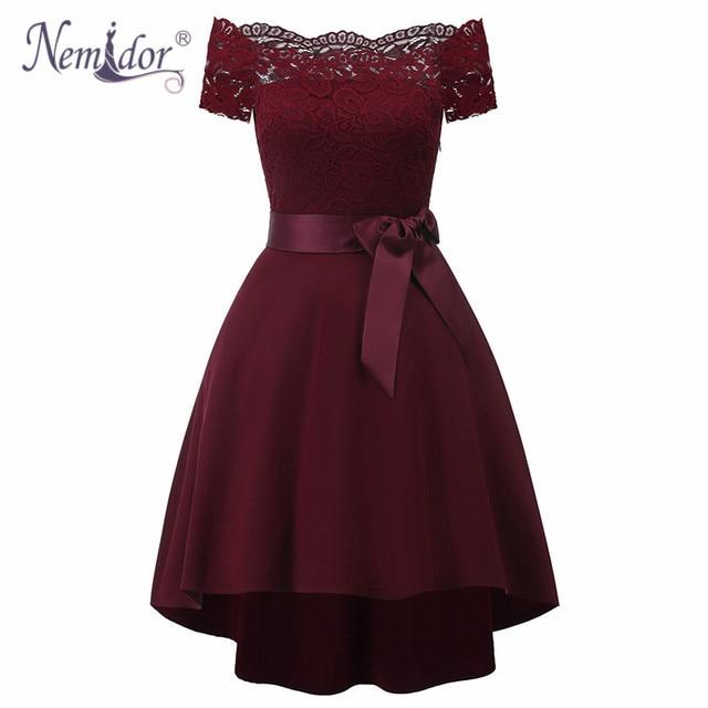 Nemidor Hot Sales Women Elegant Short Sleeve Asymmetrical Swing A-line Dress Slash Neck Patchwork Midi Party Retro Lace Dress