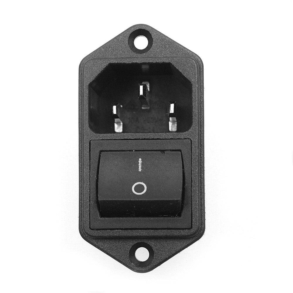 1 шт. IEC320 C14 шнур питания переменного тока на входе розетка с Кулисный Переключатель 250 В 15A SA172 P50 - Цвет: Черный