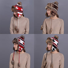 Joymay Winter Hat Bomber Hats For Men Women Thicken Balaclava Cotton Fur Winter Earflap Keep Warm Caps Russian Skull Mask W231