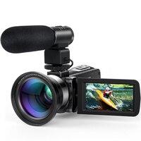 HD 1080 P ЖК дисплей сенсорный экран видео камера 16X зум ночное видение 24MP цифровой пульт для видеокамеры управление широкоугольный объектив/Mic