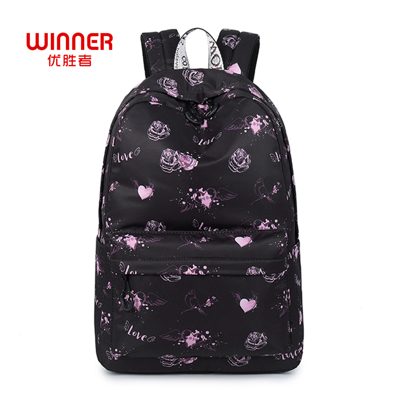 WINNER Love Heart Printed Rucksack For Teenager Girls Cute Designer Schoolbag Floral Backpacks Feminina Notebook Mochila cute love heart arrow angel bracelet for women