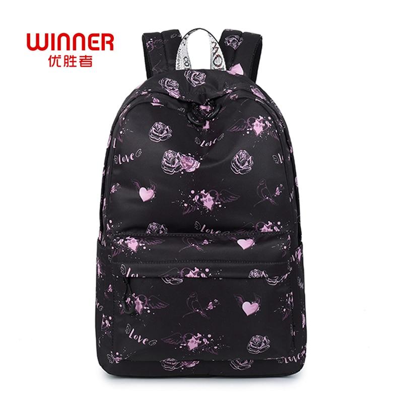 WINNER Love Heart Printed Rucksack For Teenager Girls Cute Designer Schoolbag Floral Backpacks Feminina Notebook Mochila cute beads heart love bracelet for women