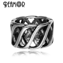 REAMOR Stainless steel Large Hole Tibetan Knit Hollow Spacer Beads for Jewelry Making Wholesale Metal Beads Jewelry Findings