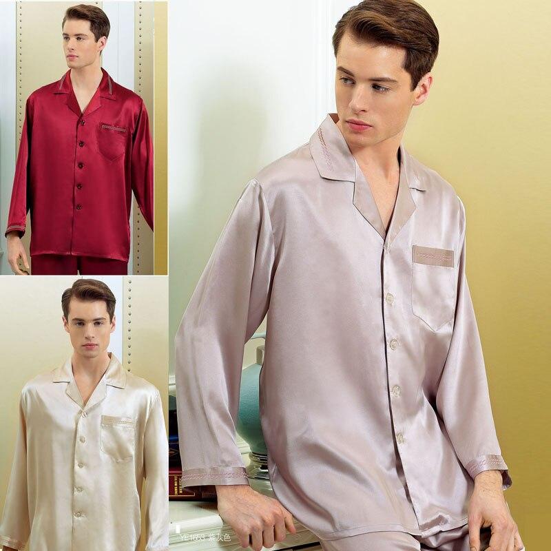 3e804d394d Brand Male Silk Pajamas Set 16 Momme Men Long Sleeve 2-Piece Pyjamas JPS Men  100% Silk Sleepwear Men's Comfortable Homewear Sets