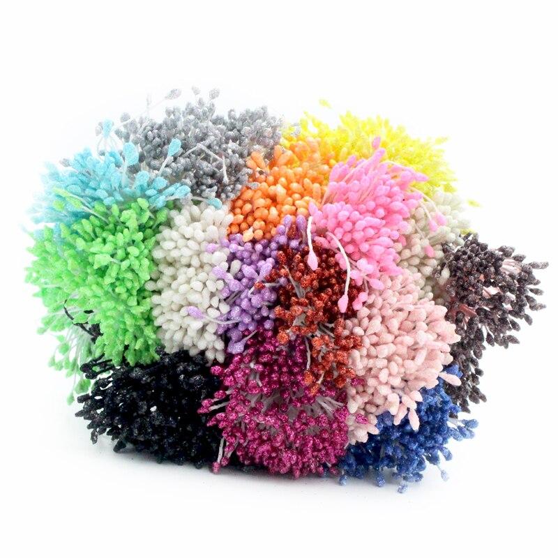 288 шт./лот, 3 мм, Двойные наконечники, разноцветные, с цветочным блеском, Stamen Pistil, свадебные украшения, сделай сам, C1102