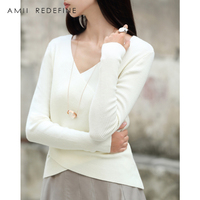 Amii Redefine Casual Knitted V neck Sweater Women 2018 Elegant Pullovers Criss cross asymmetra Solid Wool female Autumn Sweater