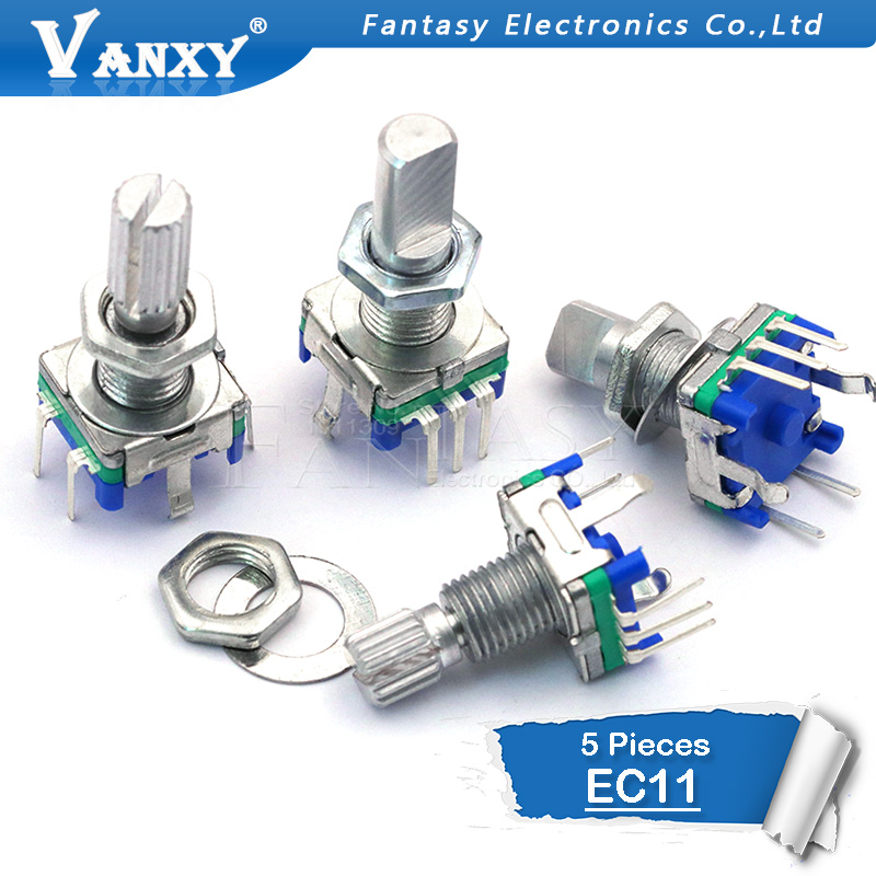 5PCS Half / Plum axis rotary encoder, handle length 15mm / 20mm code switch/EC11/ digital potentiometer with switch 5Pin5PCS Half / Plum axis rotary encoder, handle length 15mm / 20mm code switch/EC11/ digital potentiometer with switch 5Pin