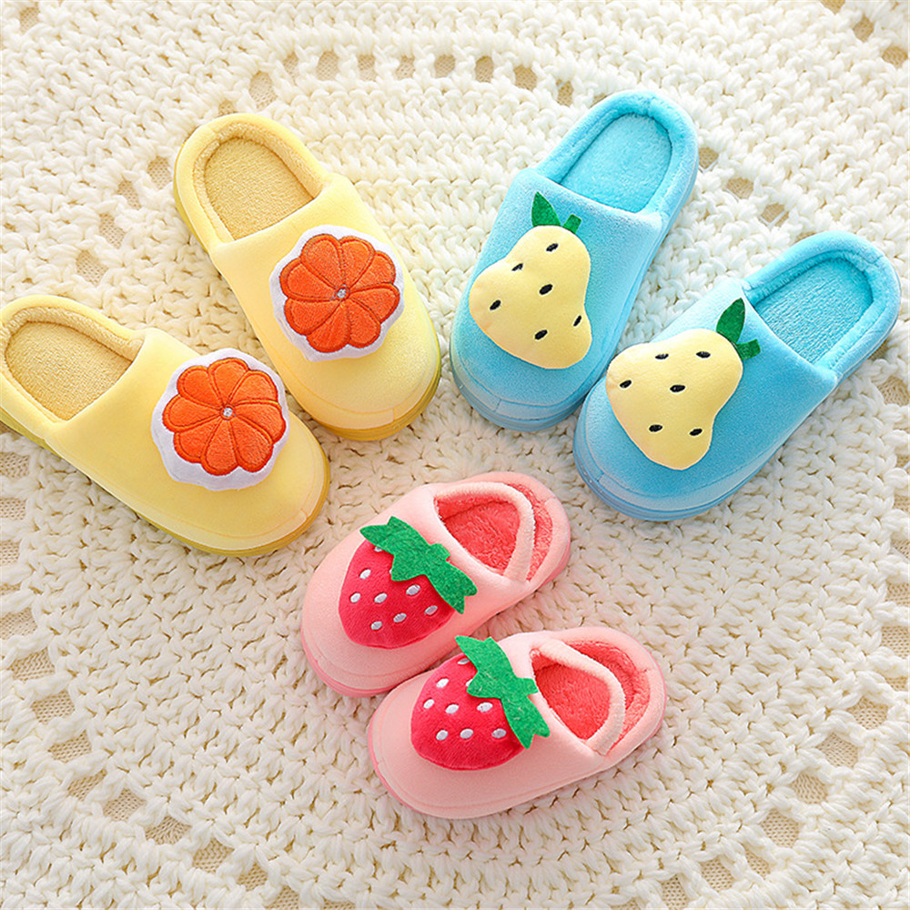 Cosplay child Slippers Lovely fruit Prints Solid Flat Indoor Shoes Winter Plush Warm Home Slippers Christmas present