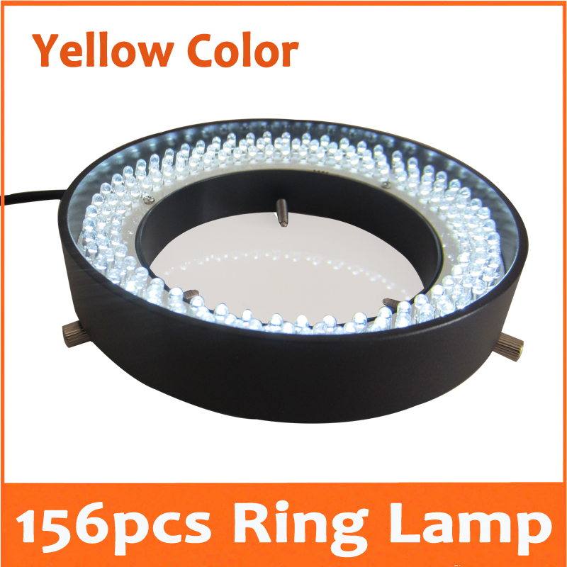 Yellow Light- 156pcs LED Adjustable Zoom Lamp Ring Lamp 8W 90V-264V 81mm Inner Diameter for Medical Stereo Biological Microscope fyscope red color light 60pcs led adjustable zoom microscope ring lamp with adapter 220v for biological stereo microscopes