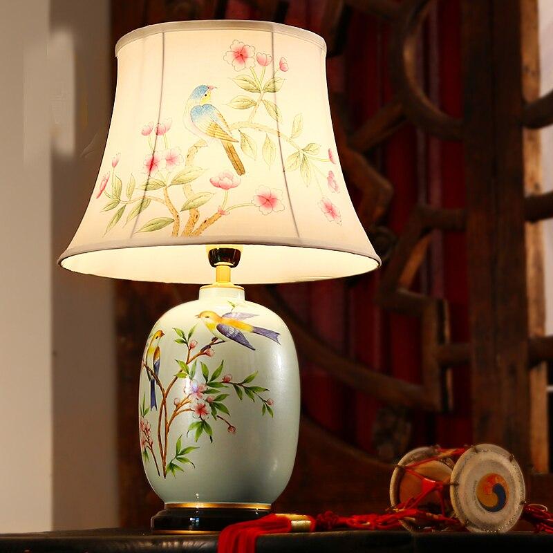 ФОТО Retro Hand-Painted Bird Flower Pastoral Porcelain LED Table Lamp Cloth Lampshade for Bedroom/Living Room Lighting E27 Desk Light