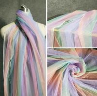 Rainbow Seven Colors Gradual Perspective Screen Mirage Garment Skirt Background Laser polyester Fabric C194