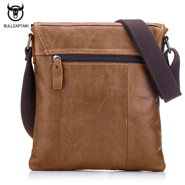 c7b719fc7c BULLCAPTAIN Vintage Fashion Men Messenger Bag 100% Genuine Leather Men  Shoulder Crossbody Bag Brand Design Man Bag Brown
