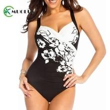 2019 Sexy Retro Black Floral Print Push Up One Piece Swimwear Women Ruched Swimsuit Female Bathing Suit Plus Size Monokini S-5XL