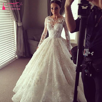 African Full Sleeve Wedding Dresses Lace A Line Luxury Bridal Dresses long sleeve wedding gown vestidos