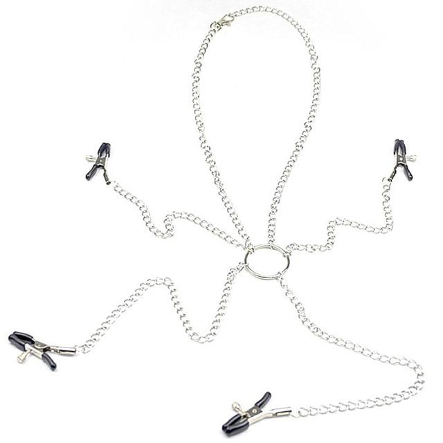 Accessoires exotiques esclave BDSM contraintes chaînes métalliques lèvres Clitoris Clips jouets sexuels sein mamelons pinces adulte femelle jeux de sexe
