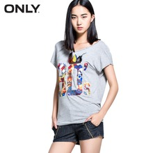 ONLY brand women fashion letter printed T-shirts ladies tassel collar comfortable casual T-shirt girls chic tops 114301019