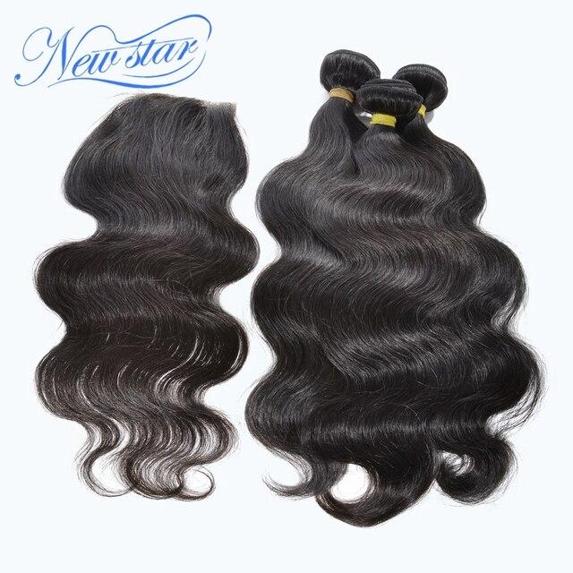 Горячие продажи новой звезды волос девы монгольской волны волос на теле человека расширения 3 связки с одним кружева свободная часть закрытие бесплатная доставка