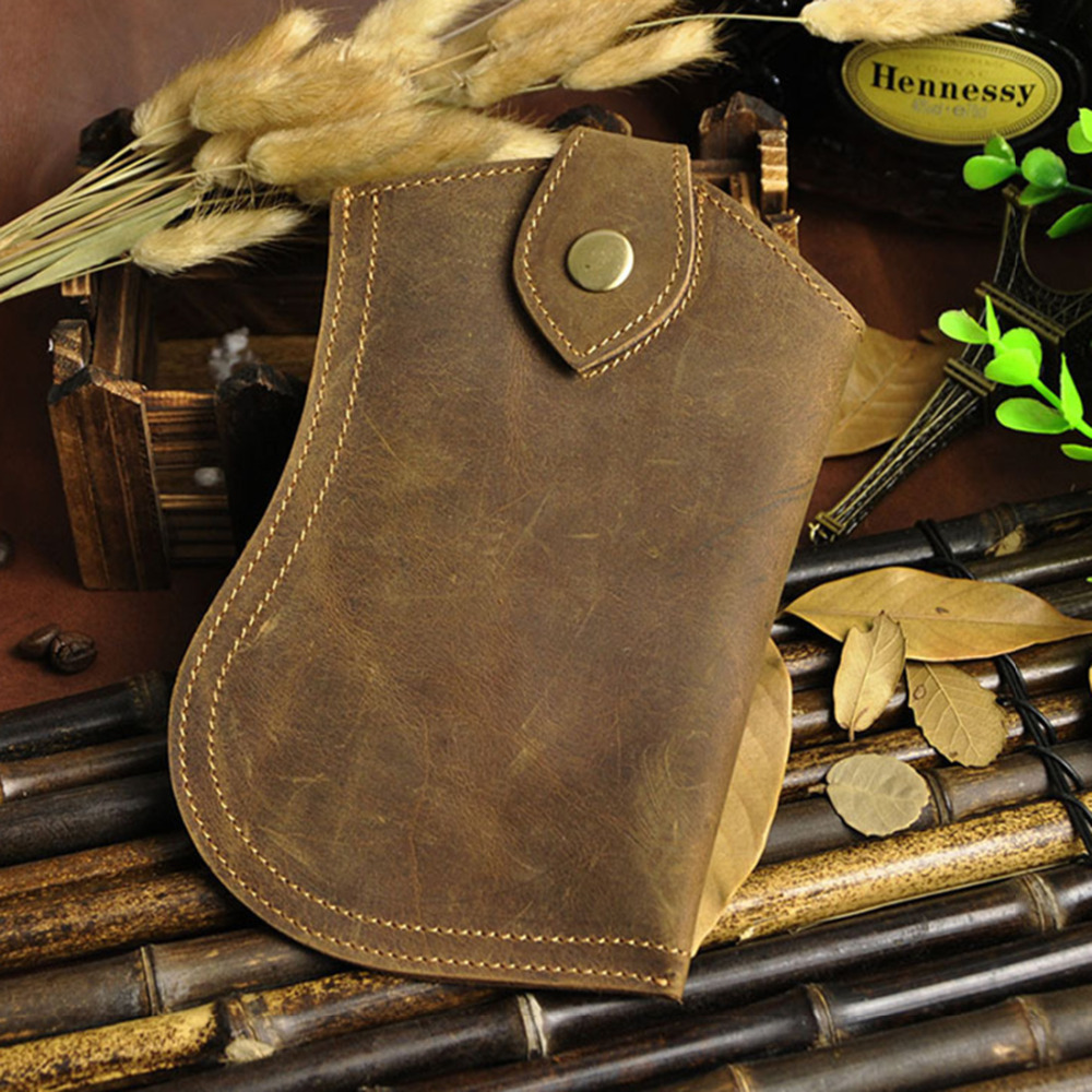 High Quality Genuine Leather Belt Cell/Mobile Phone Case Cover Skin Bag Vintage Thin Crazy Horse Cowhide Men Fanny Waist Pack