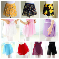 New Adult Kids Chiffon Ballet Wrap Over Scarf Skirt Dance Leotard Tutu Dress Free Shipping