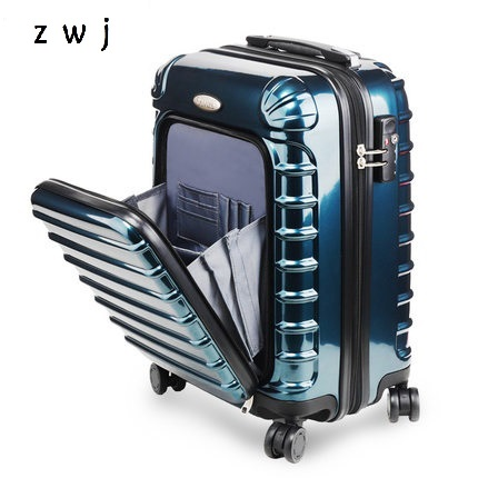 New Opening cabine rolling luggage hardside spinner trolley bag computer suitcase