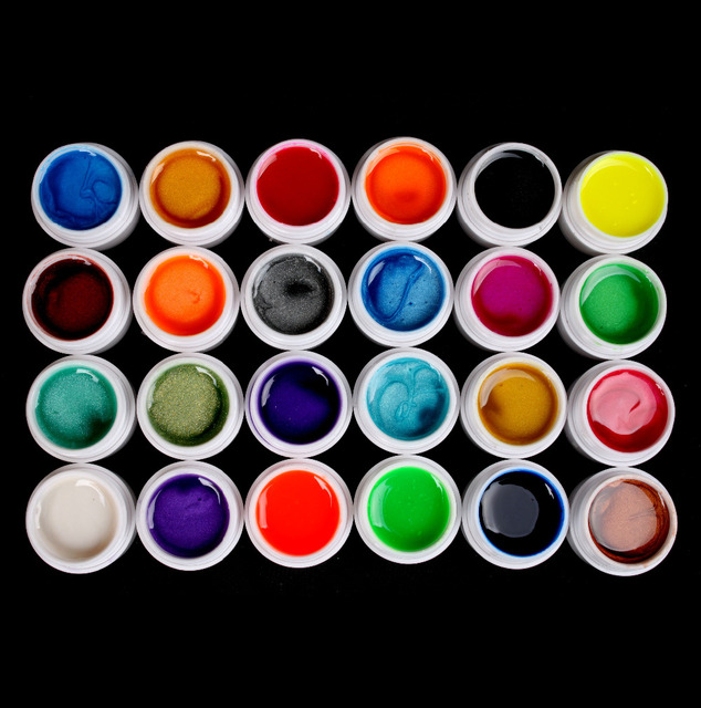 New Arrived UV Builder Gel Acrylic Nail Art Set for Nail Tips 24 PCS Mix Colors Pearls