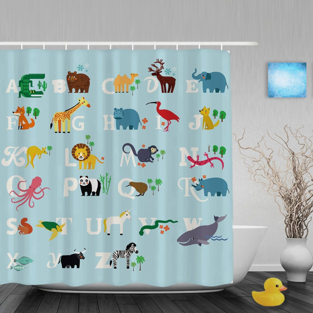 Educational Alphabet Baby Nursery Shower Cutains Cute Animals Decor Kids Bathroom Curtains Polyester Waterproof Fabric With Hook In From