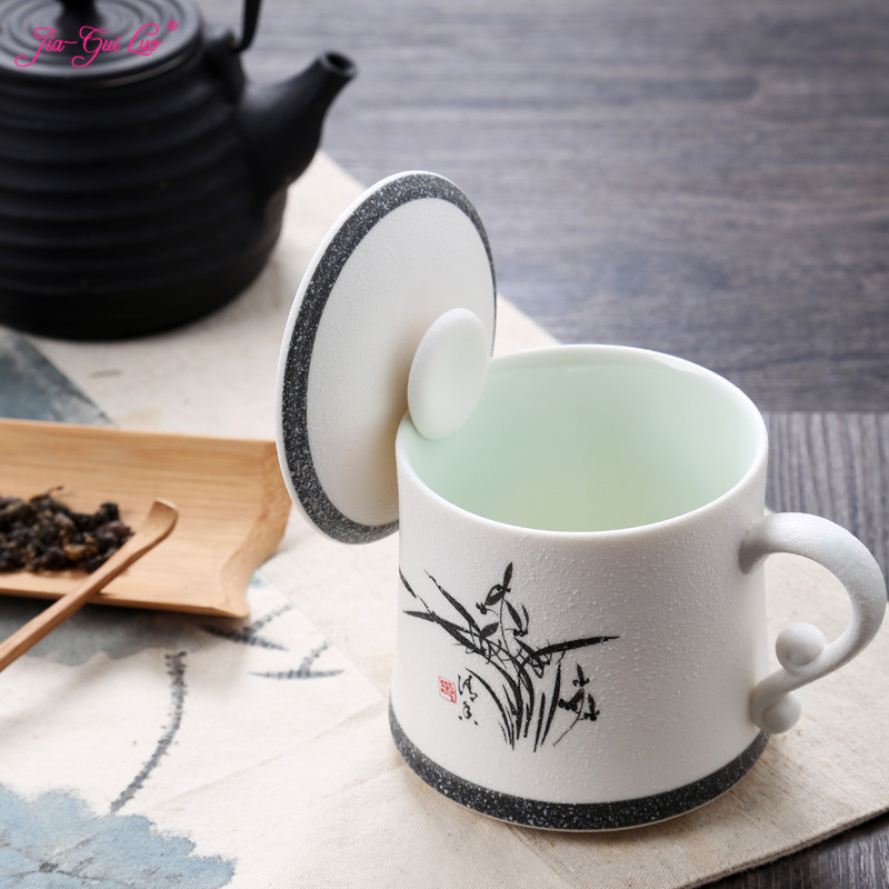 JIA-GUI LUO 360ML Tea Mugs Puer ceramic cups office cups gift travel kung fu for teas Kitchen bar supplies Tea House