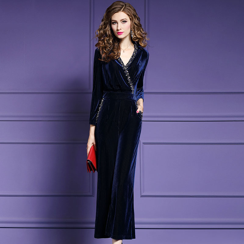 Womens Gold Velvet Jumpsuit Long Pants 2019 Fashion Sexy V-neck beaded velvet long sleeve Plus Size S-4XL Female Working Rompers spring outfits for kids